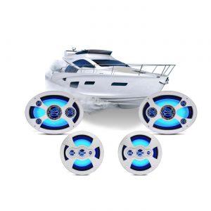 Combo Alto Falantes Marinizados LEDs Azuis Barcos E Lanchas – Shm.6069LZ
